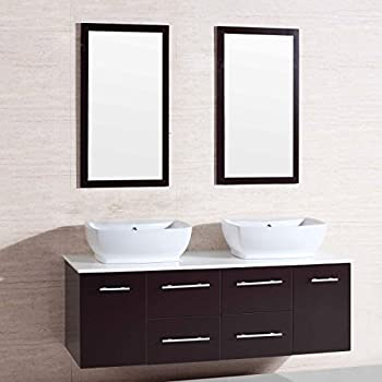 wall mounted bathroom cabinets. Decoraport 60 In  Wall Mount Bathroom Vanity Set with Double Sinks and Mirrors A Amazon com BHBL 55 With