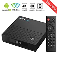【3GB DDRIII & 32GB EMMC】TICTID X9T PRO Android 7.1 TV Box Amlogic S912 Octa-Core Smart TV Box with 2.4G/5.8G Dual Band WiFi 1000M LAN Port Bluetooth 4.1 4K/2K H.265 Video Decode Android Box