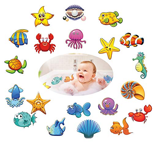 MUMULULU Non-Slip Bathtub Stickers Pack of 20 Large Sea Creature Decal Treads Best Adhesive Safety Anti-Slip Appliques for Bath Tub and Shower Surfaces