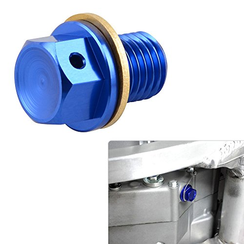 NICECNC 12mm P1.5 Blue Magnetic Oil Drain Plug Bolt for Honda CR85R/RII 03-07 CRF50F/70F XR250 Motard CBR250R/300R/650F 600/900RR VFR750F/800A Ducati 749R Hyperstrada Monster 696/796 Multistrada