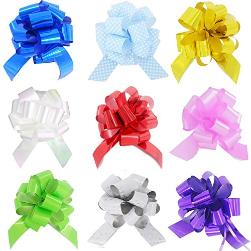 Yeeper Small Pull Bows/ Christmas Gift Knot with Ribbon Strings to Wrap the Box or Floral Decoration, Pack of 9 in diferent colors (White/Red/Pink/Yellow/Green/Blue/Purple)