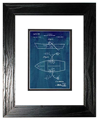 "Pedal Boat Propulsion Means Patent Art Midnight Blue Print in a Black Pine Wood Frame with a Double Mat (18"" x 24"") M15475"