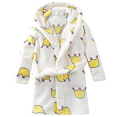 Baby Kid Little Gril kids Hooded Crown Super Soft Coral Fleece Bathrobe Children Pajamas Baby plush robe