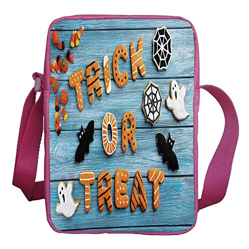 Halloween Stylish Kids Crossbody Bag,Fresh Trick or Treat Gingerbread Cookies on Blue Wooden Table Spider Web Ghost Decorative for Girls,9
