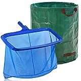 Uneat Swimming Pool Skimmer Leaf Rake, Large Fine Mesh Pool Skimmer Net for Pool Cleaning (Large with Deep Net and Leaf Bag)