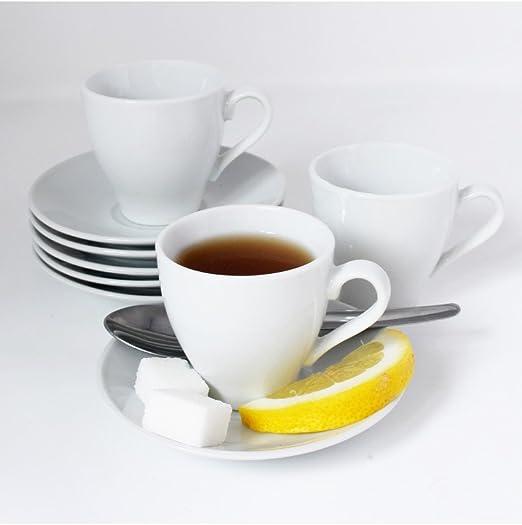 Juego de café de Porcelana Blanca, 6 Tazas y 6 Platos y cafetera para la Hora del café. Edición Basic. Hogar y más.: Amazon.es: Hogar