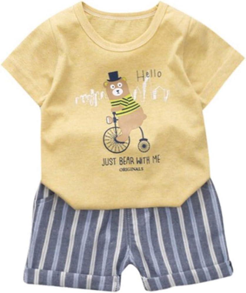 2Pcs Baby Boy Girl Cartoon Cute Bear T-Shirts Shorts Set Toddler Little Outfits Short Sleeve Clothing Sets Blue, 3T
