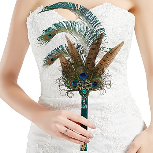 BABEYOND Vintage Bridal Feather Bouquet 1920s Peacock Feather Fan Crystal Bridesmaid Bouquet 20s Gatsby Wedding Bouquet Flapper Accessories (Peacock-1) -
