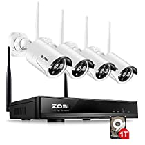 ZOSI 4PC Megapixel 720P Wireless IP Camera System 100ft (30m) Night vision with 4 Channel Security HD Network IP NVR Wifi Kit Support Smartphone Remote view with 1TB Hard Drive (Certified Refurbished)
