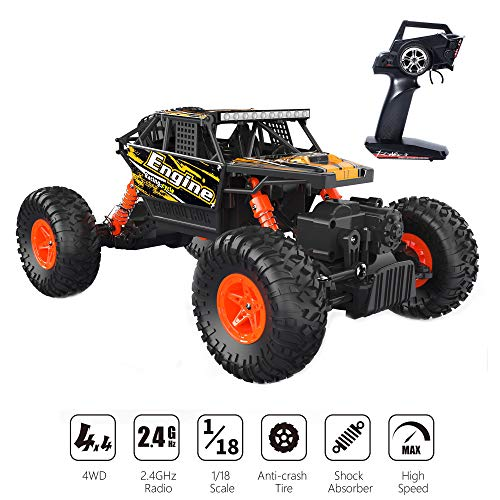 Holyton Remote Control Car 4-Wheel-Drive Off Road Truck 1:18 Scale RTR Crawler Electric Vehicle Toy Monster Truck 2.4GHz Radio RC Cars High Speed Racing Jeep for Kids and AdultsHolyton Remote Control ()