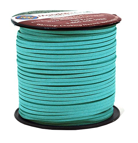 Mandala Crafts 100 Yards 2.65mm Wide Jewelry Making Flat Micro Fiber Lace Faux Suede Leather Cord (Medium Turquoise) (Faux Leather Wide)