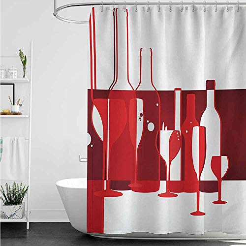 home1love Bath Shower Curtain,Wine Artistic Modern Design Party Drink Beverage Product with Abstract Display,Shower stall Curtain,W55x86L,Red Burgundy ()