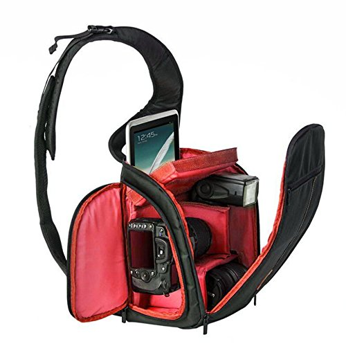 X-Freedom Modern Nylon Outdoor Indoor Camera Bag DSLR SLR Camera Sling Backpack Protection Backpack For Nikon,Canon, Sony, Olympus, Panasonic, Lens, Flash, Battery, USB cable (Red)
