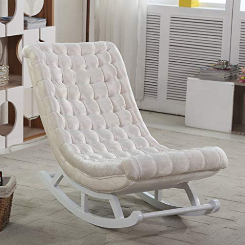 HYYTY-Y Single Leather Rocking Chair, Solid Wood Lazy Couch Leisure Terrace Recliner 619-YY (Color : Flannel-White) (Rocking Ikea Wicker Chair)