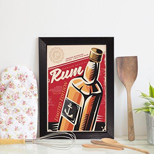 Quadro Decorativo Bebida Vintage Rum 22x32cm Moldura Preta