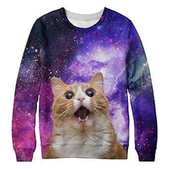 Chinkeyed Men Digital Print Space Cat Crew-neck Pullover Sweater (Large)