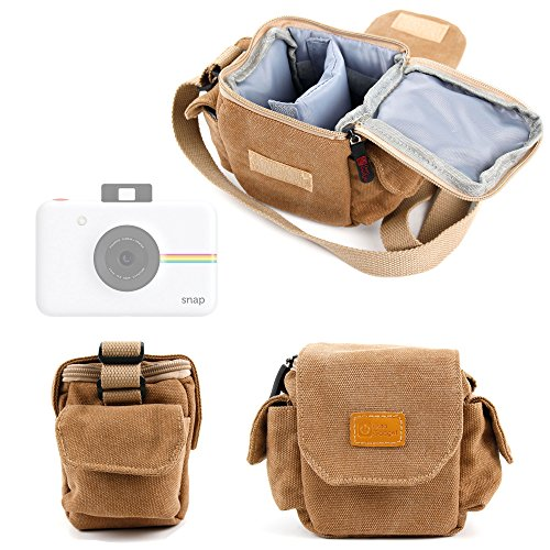 DURAGADGET Tan-Brown Small Sized Canvas Carry Bag for the NEW Polaroid Snap Camera - With Customizable Interior Storage Compartment & Adjustable Shoulder Strap (with BONUS Cleaning Cloth) by DURAGADGET