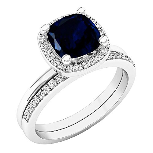 Dazzlingrock Collection 10K 7 MM Cushion Lab Created Blue Sapphire & Round Diamond Ladies Ring Set, White Gold, Size 7