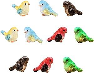 Miniature Bird Decorative Figurines 10 Pcs Mini Bird Dollhouse Figurines Accessories Fairy Garden Decoration Plant Flower Pots Ornaments