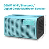 GGMM E3 Wireless WiFi/ Bluetooth Speaker with LED Alarm Clock & Smart USB Charging port, Featuring Airplay, DLNA, Spotify, Pandora, and Multi-Room Play, Streaming music from your Devices (Blue)