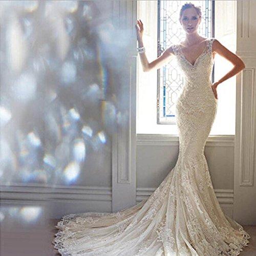 June's Young - Vestido de novia elegante con cuello sexy y espalda al aire, de encaje, con flores, para ceremonia, en color blanco