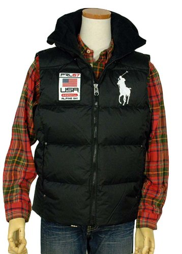 Polo Ralph Lauren Men's Down Alpine Vest Big Pony Hooded Black - Big Men Polo Pony Vest For