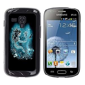 MobileHut / Samsung Galaxy S Duos S7562 / Blue Marine Underwater Skeleton / Delgado Negro Plástico caso cubierta Shell Armor Funda Case Cover