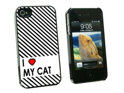 Graphics and More I Love Heart My Cat Snap-On Hard Protective Case for Apple iPhone 4/4S - Non-Retail Packaging - Black