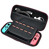 HESPLUS Hard Carrying Case Portable Travel Storage Bag for Nintendo Switch with 10 Built-in Game Card Holders – Joy-con & Game Console Accessories Protective Storage Bag