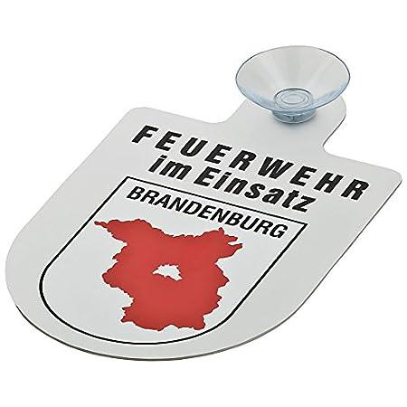 Feuerwehr im Einsatz KFZ Aluschild mit Saugnapf und Bundesland Wappen Berlin