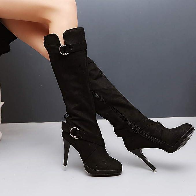 ❤ Botas Impermeables de tacón Alto, Botas Altas de Invierno para Mujer Zapatos de Mujer Hebilla Plataforma Romana Botas de tacón Alto Botas Botas largas ...