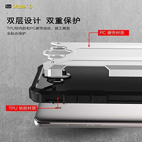 Funda Huawei Mate 10,XINYUNEW TPU+PC [Regalo Cristal Vidrio Templado] Premium Armadura Híbrido caja de la armadura para el teléfono Silicona Carcasa Case Funda para Huawei Mate 10 Rojo Plata