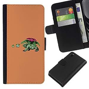 LECELL--Cuero de la tarjeta la carpeta del tirón Smartphone Slots Protección Holder For Sony Xperia Z3 D6603 -- Divertido P0kemon --