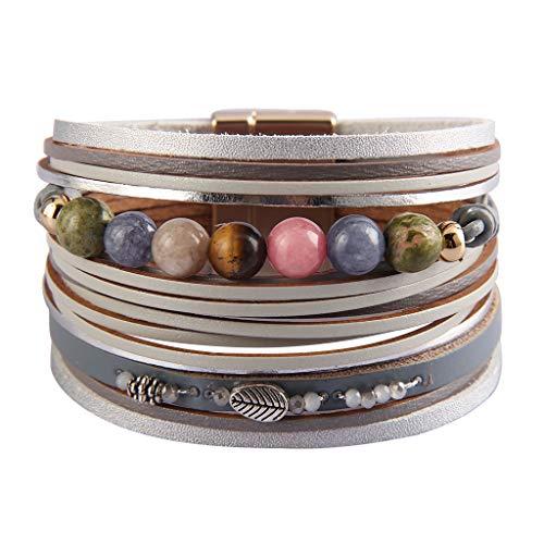 AZORA Ladies Leather Cuff Bracelet Multi Strands Chakra Beads Wrap Bracelets Handmade Studed Charm Bangle Jewelry Birthday Gift for Women Teen Girls Gray