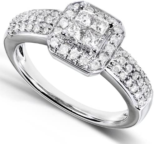 Kobelli Princess Diamond Wedding Set 3/4 carat (ctw) in 14k White Gold - 3 Piece Set