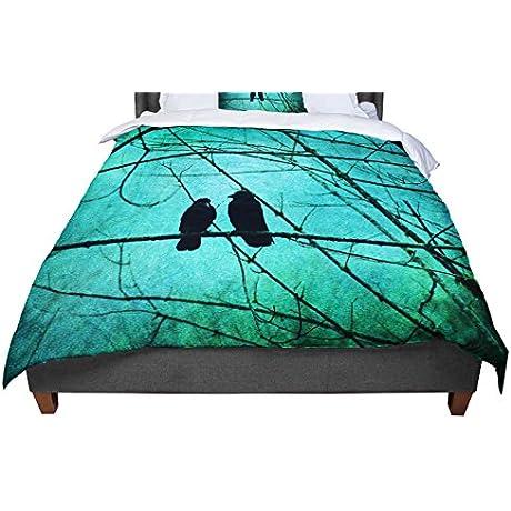 KESS InHouse Robin Dickinson Smitten Blue Teal King Cal King Comforter 104 X 88