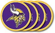 Duck House NFL Minnesota Vikings Vinyl Coaster Set (Pack of 4) , 4&