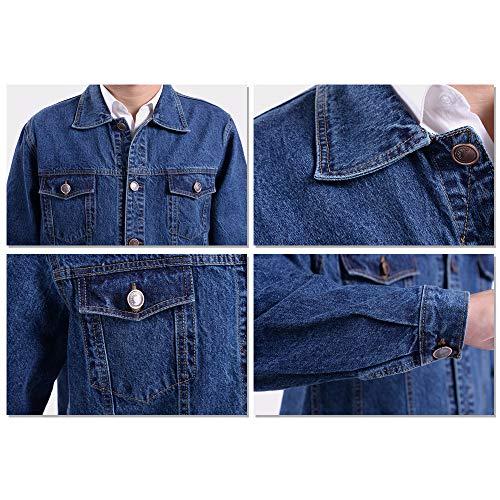 Denim Fashion Jacket Workwear Jacket Classic Coat Light Casual BOZEVON Blue Men's X0xwqIAcY