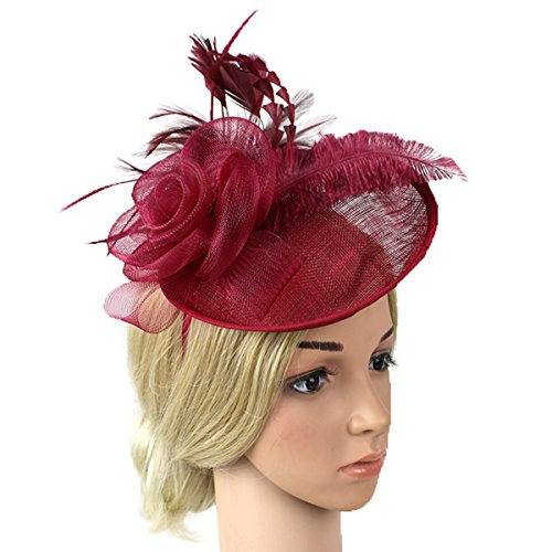 Vogue Women Top Hat Mesh Feather Fascinator Chic Hair Clip Hat for Special Event Burgandy]()