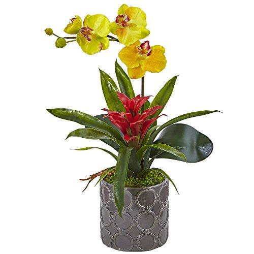 Nearly Natural Mini Phalaenopsis Orchid Silk Arrangement, Yellow
