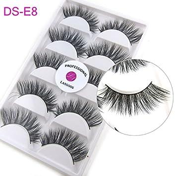 0ee1ddfbf82 Amazon.com : 5 Pairs/Box 3D Real Mink False Eyelashes LASGOOS 100% Siberian  Mink Fur Cruelty-free Luxurious Natural Cross Winged Fake Eye Lashes Makeup  E8 : ...