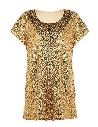 PrettyGuide Women's Sequin Shirt Shimmer Glitter Loose Fit Party Tops Dolman Sleeves Gold S/US6-8