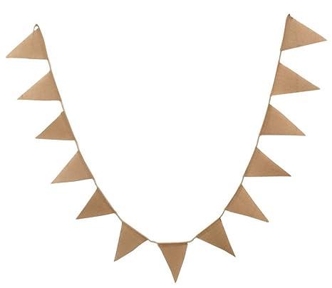 Toruiwa Banderas del triángulo de Yute de Estilo Retro Bandera Colgando guirnaldas del empavesado Arpillera Que