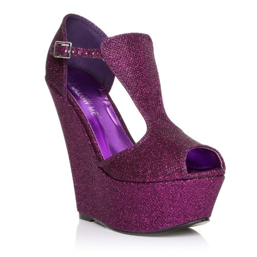 Uk Vestir Purple Glitter Para Shuwish De Mujer Púrpura Sandalias t4xdwqU