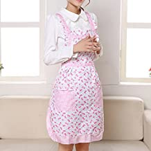 Qianle Womens Floral Patten Apron Kitchen Restaurant Bib Cooking Aprons with 2 Pockets Pink Flowers