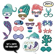 Mermaid Photo Booth Props Portable Little Mermaid Photo Props Personalized Baby Shower Birthday Party Decorations Supplies 26 PCS