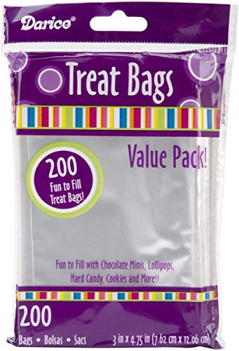 Baby Shower Cake Bags (Darice Value Pack, 3 x 4.7 inches, 200 Pieces Treat bags, clear/transparent (Package May)