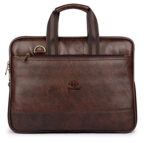 The Clownfish Vegan Leather Laptop Briefcase, Laptop Case, Laptop Bag, Laptop Messenger Bag, Men and Women, Computer Bag, Laptop Shoulder Bag, Expandable Laptop Bag, Office Bag ()