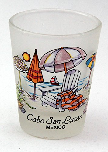 Cabo San Lucas Mexico (Cabo San Lucas Mexico Beach Chairs Frosted Shot Glass)