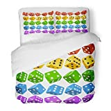 SanChic Duvet Cover Set Casino Dice of Authentic Red Yellow Green Blue and Purple Poker Cubes White 3D Board Game Pieces Decorative Bedding Set with 2 Pillow Shams Full/Queen Size
